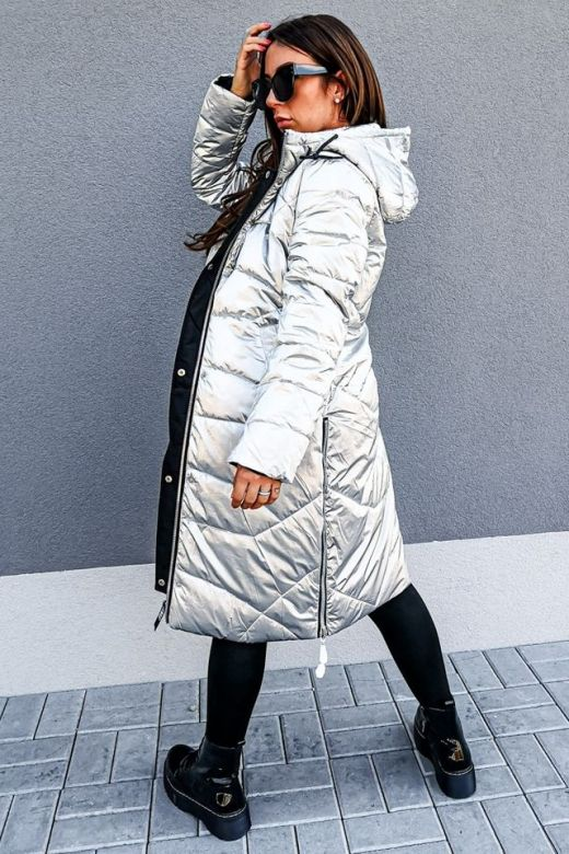Dame vinterjakke oversized silver Queen