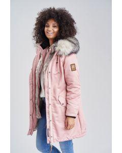 Dame vinterjakke med pels daylight - Rosa