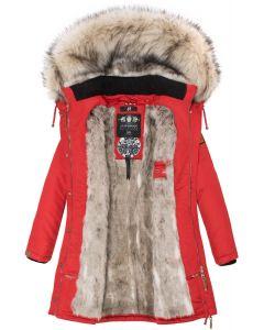 Dame vinterjakke med pels daylight - Rød