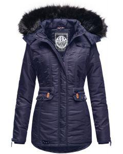 Dame Vinterjakke med pels skat Blå Navy