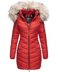 Dame Vinter dyne jakke med pels Nimala - Rød