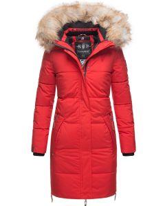 Dame Vinterjakke med Pels Halina - Rød