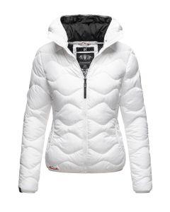 Dame dyne jakke med hætte Key Color Hvid