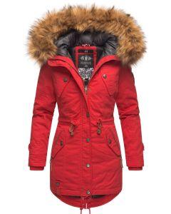 Dame vinterjakke med pels - New La Viva 19  Rød