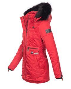 Dame Vinterjakke med pels skat Rød