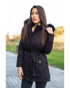 Dame Vinter jakke med sort pels - Kugel Sort