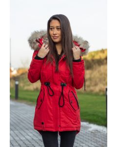 Dame Vinterjakke lang med pels - Bombii Rød