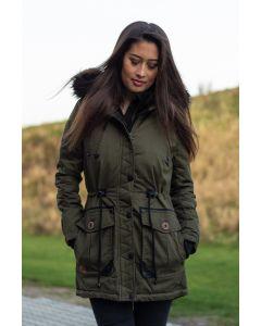 Dame Vinter jakke med sort pels - Kugel Grøn
