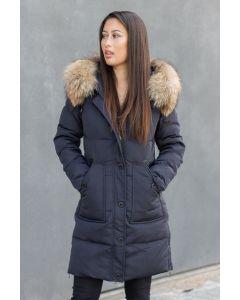 Dame Vinterjakke LUX Dun jakke med stor pels Toronto - Navy