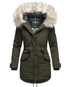 Dame vinterjakke med pels Lady like - Olive