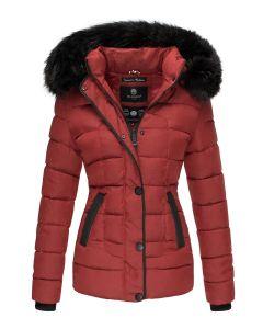 Dame vinterjakke med pels - Unique i Rød