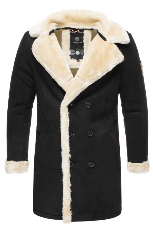 Herre vinter jakke i  ruskind look - Sort