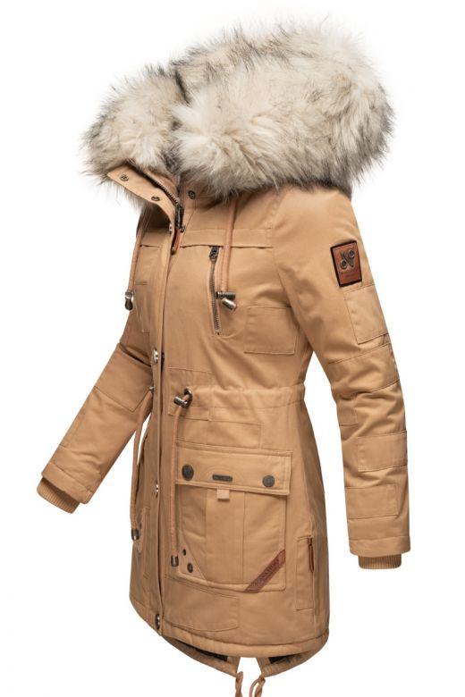 Dame vinterjakke med pels Honingfee - Camel
