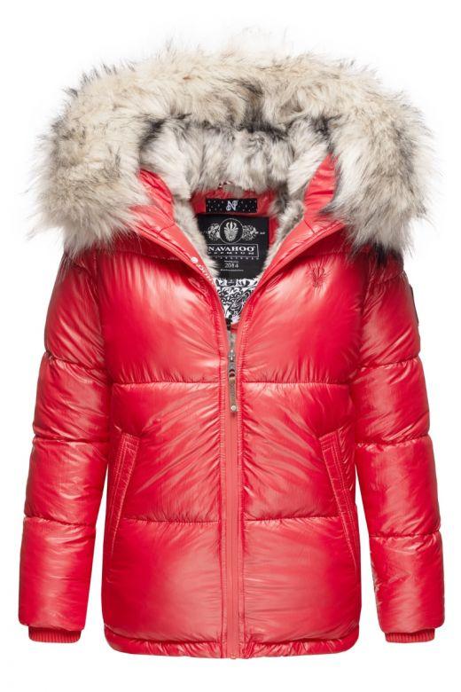 Dame Vinterjakke med pels Tikuna - Rød