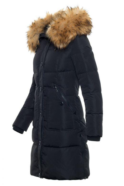Toronto Dun Jakke Sort - Faux Fur