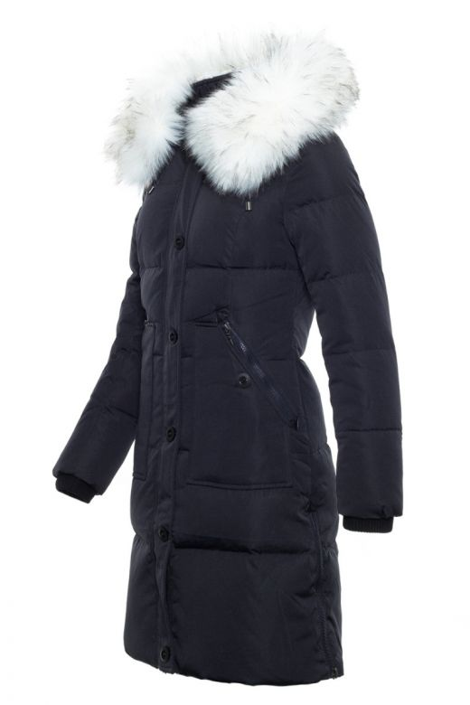Toronto Dun Jakke Sort med hvid faux fur pels