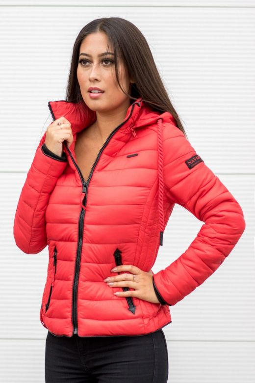 Dame dun jakke med hætte Lulana Rød