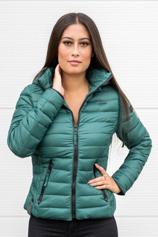 Dame dun jakke med hætte Lulana Ocean Green
