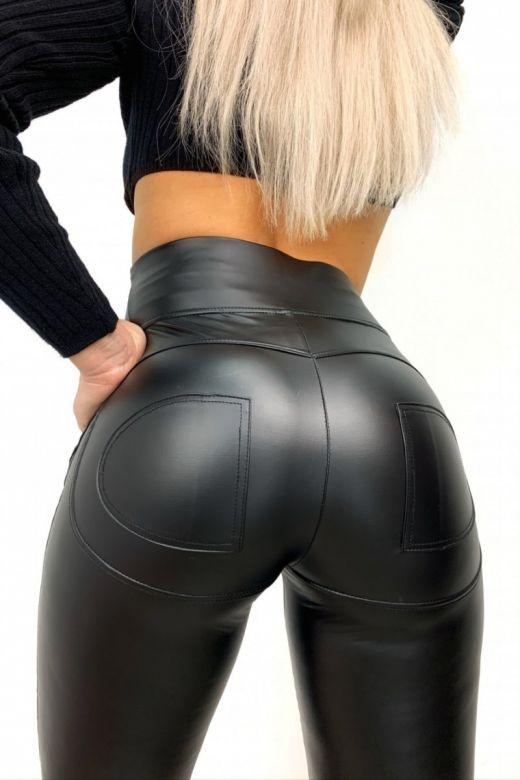 Leggings i læder look stof med høj talje