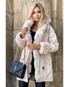 Dame modejakke med stor pels - Alassio i Beige