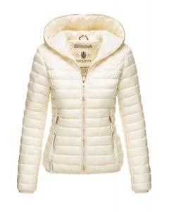 Dame dun jakke med hætte Smukke OffWhite