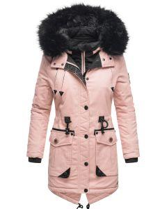 Dame Vinter jakke med sort pels - Kugel Rosa