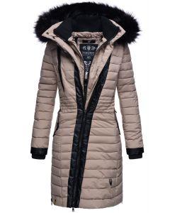 Dame Vinter dyne jakke med pels -Tirana Taupe