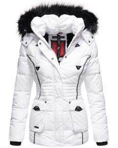 Dame vinterjakke med pels Vanilla - Hvid