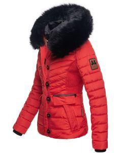 Kort Dame Vinterjakke med pels Yuna - Rød