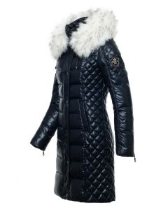Milano Dun Jakke navy - hvid Faux Fur