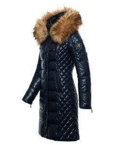 Milano Dun Jakke Navy - Faux Fur