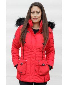 Dame vinterjakke med pels Vanilla - Rød