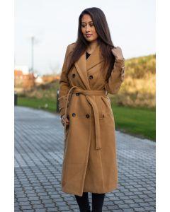 Dame Frakke lang model Arnaa - Camel