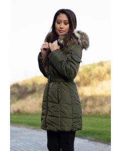 Dame vinterjakke med pels Paris - Army Grøn
