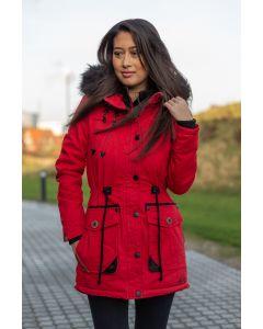 Dame Vinter jakke med sort pels - Kugel Rød