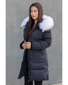 Toronto Dun Jakke Navy med hvid faux fur pels