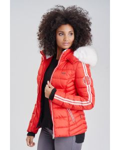 Dame vinterjakke med pels Kingaas - Rød