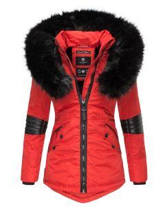 Dame vinterjakke med pels - Nirvana Rød