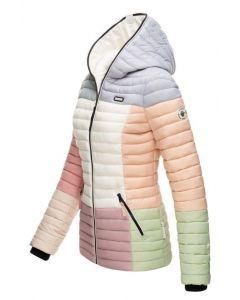 Dame dyne jakke med hætte Multi Pastel