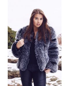 Faux fur pelsjakke kort Mørk grå