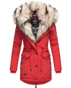 Dame vinterjakke med lys pels Sweety - Rød