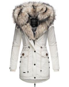 Dame vinterjakke med lys pels Sweety - Hvid
