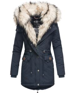 Dame vinterjakke med lys pels Sweety - Navy Blå