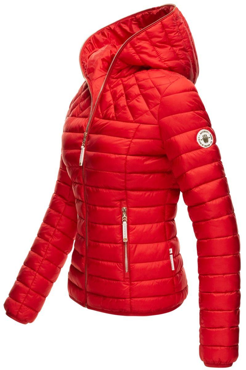 Dame dun jakke med hætte Smukke Rød