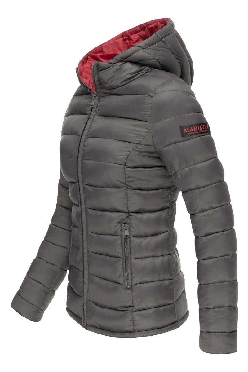 Lucy Let dun jakke med hætte i Mørk Grå