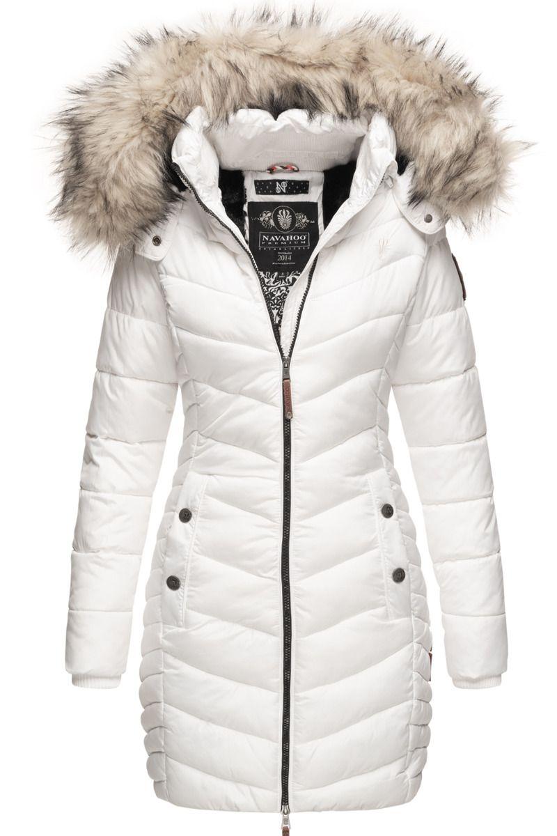 Dame Vinter dyne jakke med pels Nimala Hvid