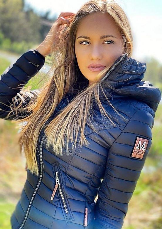 Dame jakke med hætte Baby Navy